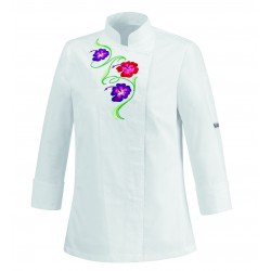 CHAQUETA DE COCINA MUJER WHITE FLOWERS